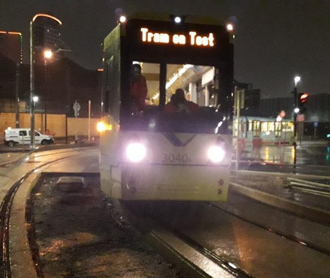 Testing begins on Manchester's Trafford Park tram extension - Railway Gazette International