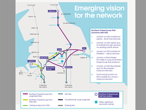 Map of proposed junctions between High Speed 2 and Northern Powerhouse Rail routes.