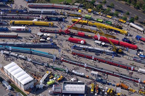 The Messe Berlin venue has more than 3 km of outdoor tracks for rail vehicles to be displayed.